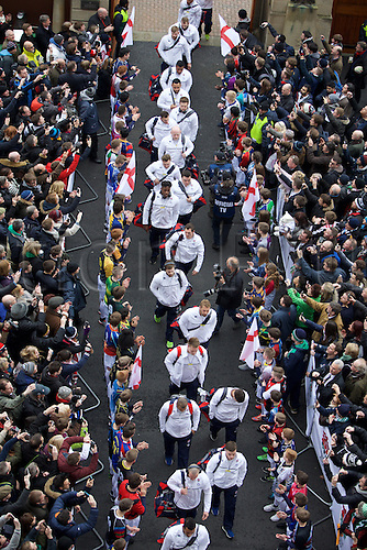 27.02.2016. Twickenham, London, England. RBS Six Nations Championships. England versus Ireland. The England team arrive at Twickenham.