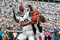 October 09, 2011:   Jacksonville Jaguars tight end Marcedes Lewis (89) goes up for a pass in the endzone that fell incomplete while Cincinnati Bengals middle linebacker Rey Maualuga (58) defends during second quarter action between the Jacksonville Jaguars and the Cincinnati Bengals played at EverBank Field in Jacksonville, Florida.  ........