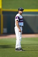 Winston-Salem Rayados manager Omar Vizquel (13) coaches third base during the game against the Potomac Nationals at BB&T Ballpark on August 12, 2018 in Winston-Salem, North Carolina. The Rayados defeated the Nationals 6-3. (Brian Westerholt/Four Seam Images)