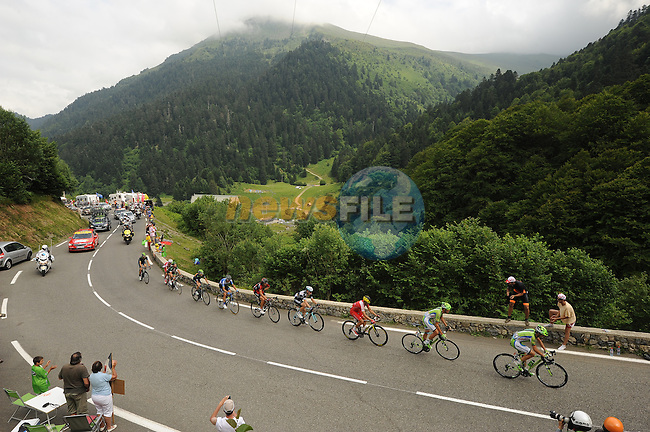 The breakaway group head into the Pyrenees during Stage 18 of the 2014 Tour de France running 145.5km from Pau to Hautacam. 24th July 2014.<br /> Photo ASO/B.Bade/www.newsfile.ie