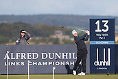 5th October 2017, The Old Course, St Andrews, Scotland; Alfred Dunhill Links Championship, first round; Oliver Fisher of England tees off on the thirteenth hole on the Old Course, St Andrews during the first round at the Alfred Dunhill Links Championship