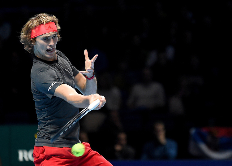 Alexander Zverev in action against Novak Djokovic<br /> Photographer Hannah Fountain/CameraSport<br /> <br /> International Tennis - Nitto ATP World Tour Finals Day 4 - O2 Arena - London - Wednesday 14th November 2018<br /> <br /> World Copyright © 2018 CameraSport. All rights reserved. 43 Linden Ave. Countesthorpe. Leicester. England. LE8 5PG - Tel: +44 (0) 116 277 4147 - admin@camerasport.com - www.camerasport.com