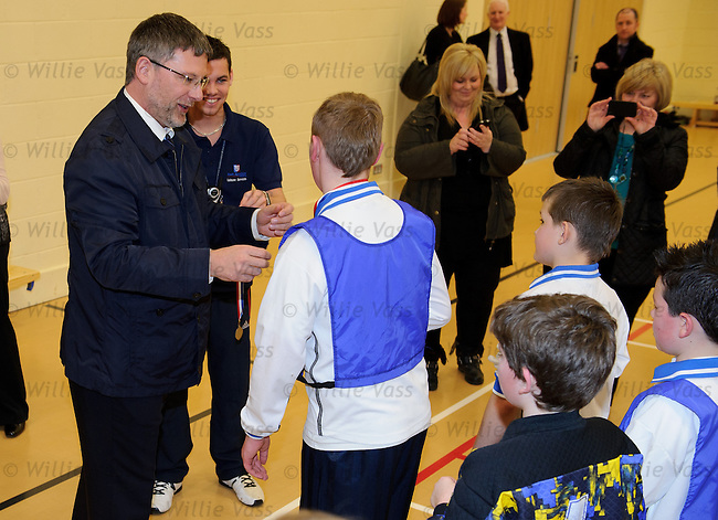 Scotland manager Craig Levein opens the new Stewarton Sports Centre in Ayrshire