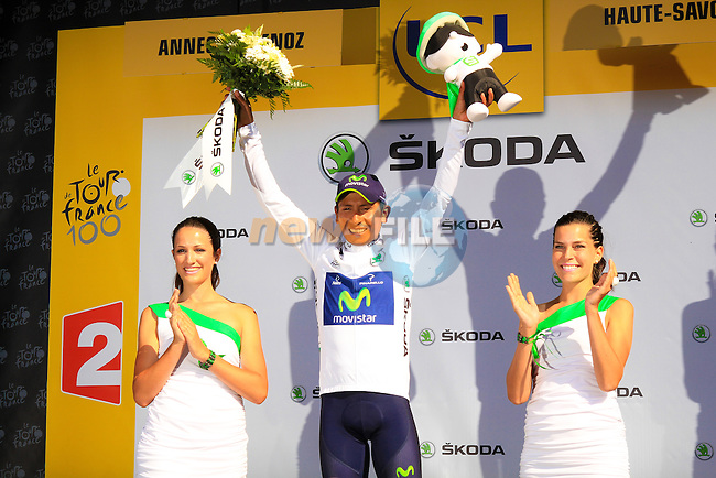 Nairo Alexander Quintano (COL) Movistar Team keeps the young rider's White Jersey after winning Stage 20 of the 100th Edition of the 2013 Tour de France from Annecy to Annecy Semnoz. 20th July 2013.<br /> (Photo:Thomas van Bracht/Peloton Photos/www.newsfile.ie)