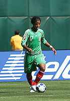 Giovani Dos Santos dribbles the ball. Mexico defeated Nicaragua 2-0 during the First Round of the 2009 CONCACAF Gold Cup at the Oakland, Coliseum in Oakland, California on July 5, 2009.