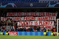 25th February 2020; Stamford Bridge, London, England; UEFA Champions League Football, Chelsea versus Bayern Munich; Bayern Munich protesting in the away stands with banners about away ticket prices