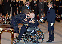 Queen Sofia of Spain and Alfredo Di Stefano attend the National Sports Awards ceremony at El Pardo Palace. December 05, 2012. (ALTERPHOTOS/Caro Marin) NortePhoto