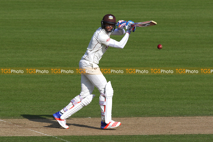 James Burke hits out for Surrey during Surrey CCC vs Middlesex CCC, Friendly Match Cricket at the Kia Oval on 22nd March 2016