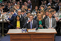 Mark Zuckerberg, Co-Founder and CEO of Facebook, testifies before a joint meeting of the United States Senate Committee on the Judiciary and the US Senate Committee on Commerce, Science, and Transportation during a hearing to examine Facebook, as it relates to social media privacy and the use and abuse of data, on Capitol Hill in Washington, DC on Tuesday, April 10, 2018.<br /> CAP/MPI/RS<br /> &copy;RS/MPI/Capital Pictures