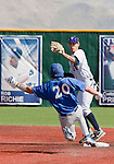 March 10, 2012:   Nevada Wolf Pack shortstop Kyle Hunt gets the force out on UC Santa Barbara Gauchos Joe Winterburn during their NCAA baseball game played at Peccole Park on Saturday afternoon in Reno, Nevada.