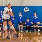 18 October 2015: Yeshiva University Maccabee Libero Shaina Hourizadeh, a Junior from Englewood, NJ, bumps during game action against the College of Mount Saint Vincent Dolphins at the Peter Sharp Center, in Riverdale, NY. The Dolphins defeated the Maccabees 3-0 in the NCAA Division III Women's Volleyball Skyline matchup. Mandatory Credit: Ed Wolfstein Photo *** RAW (NEF) Image File Available ***