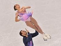 Israel's Paige Conners and Evgeni Krasnopolski in action at the figure skating pair performances in the Gangneung Ice Arena at the Winter Olympics in Pyeongchang, South Korea, 9 February 2018. Photo: Peter Kneffel/dpa /MediaPunch ***FOR USA ONLY***