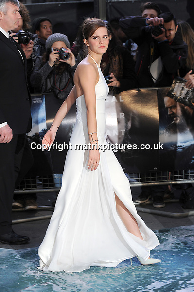 NON EXCLUSIVE PICTURE: PAUL TREADWAY / MATRIXPICTURES.CO.UK<br /> PLEASE CREDIT ALL USES<br /> <br /> WORLD RIGHTS<br /> <br /> English actress Emma Watson is pictured attending the UK Premiere of &quot;Noah&quot; at the Leicester Square Odeon Theatre in London, England.<br /> <br /> MARCH 31st 2014<br /> <br /> REF: PTY 141609