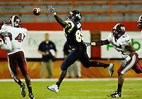 Florida International University Golden Panthers (0-5, 0-1 SBC)  versus the Troy University Trojans (3-2, 2-0 SBC) at the Orange Bowl, Miami, Florida on Saturday, October 6, 2007...Junior tight end Moses Hinton (89) (Delray Beach, Fla.) tries unsuccessfully to pull in a Wayne Younger pass in the first quarter.