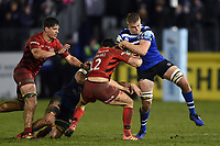 Tom Ellis of Bath Rugby looks to fend Alex Lozowski of Saracens. Gallagher Premiership match, between Bath Rugby and Saracens on March 8, 2019 at the Recreation Ground in Bath, England. Photo by: Patrick Khachfe / Onside Images