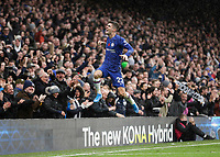 9th November 2019; Stamford Bridge, London, England; English Premier League Football, Chelsea versus Crystal Palace; Christian Pulisic of Chelsea celebrates after score his sides 2nd goal in the 79th minute to make it 2-0 with a diving header - Strictly Editorial Use Only. No use with unauthorized audio, video, data, fixture lists, club/league logos or 'live' services. Online in-match use limited to 120 images, no video emulation. No use in betting, games or single club/league/player publications