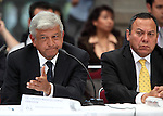 Democratic Revolution Party (PRD) candidate Andres Manuel Lopez Obrador (L) gestures, along with Jesus Zambrano, during the dialogue with members of the National Movement for Peace with Justice and Dignity (MPJD) in the Alcazar del Castillo de Chapultepec venue in Mexico City, May 28. 2012. Sicilia and the mothers of disappeared people demanded peace to Mexico and the punishment of the authorities linked to the organized crime in Mexico. Photo by Heriberto Rodriguez