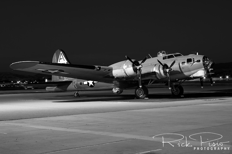 "B-17 Flying Fortress ""Nine-O-Nine"" operated by the Collings Foundation sits on the ramp at Livermore Airport in Livermore, California"