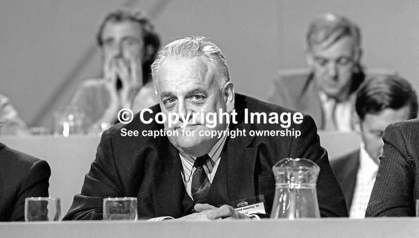 Cyril Smith, MP, Liberal Party, Rochdale, UK, on platform at his party's annual conference. 19860913CS1<br />