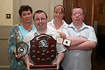Senior Athlete of the Year Andrew Kierans with his mother Carol, Aunt Bernadette and brother Jason at the Special Olympics Awards Night in the Westcourt Hotel...Photo NEWSFILE/Jenny Matthews.(Photo credit should read Jenny Matthews/NEWSFILE)....This Picture has been sent you under the condtions enclosed by:.Newsfile Ltd..The Studio,.Millmount Abbey,.Drogheda,.Co Meath..Ireland..Tel: +353(0)41-9871240.Fax: +353(0)41-9871260.GSM: +353(0)86-2500958.email: pictures@newsfile.ie.www.newsfile.ie.FTP: 193.120.102.198.