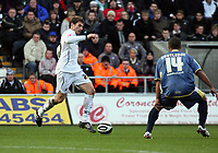Pictured: Angel Rangel of Swansea City in action <br /> Re: Coca Cola Championship, Swansea City FC v Cardiff City at the Liberty Stadium. Swansea, south Wales, Sunday 30 November 2008.<br /> Picture by D Legakis Photography / Athena Picture Agency, Swansea 07815441513