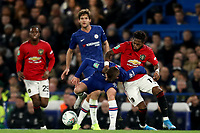 30th October 2019; Stamford Bridge, London, England; English Football League Cup, Carabao Cup, Chelsea Football Club versus Manchester United; Fred of Manchester Utd fouls Billy Gilmour of Chelsea - Strictly Editorial Use Only. No use with unauthorized audio, video, data, fixture lists, club/league logos or 'live' services. Online in-match use limited to 120 images, no video emulation. No use in betting, games or single club/league/player publications