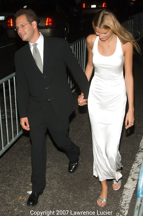 NEW YORK - SEPTEMBER 05:  Model Hana Soukupova and her husband depart the party for the 25th anniversary of Calvin Klein underwear September 5, 2007, at the Calvin Klein offices in New York City.  (Photo by Lawrence Lucier)