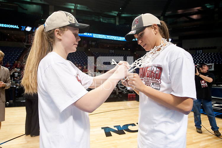 SPOKANE, WA - MARCH 28, 2011: Lindy La Rocque, Jeanette Pohlen, Stanford Women's Basketball vs Gonzaga, NCAA West Regional Finals at the Spokane Arena on March 28, 2011.