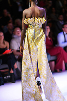 MELBOURNE - September 5, 2019: A model wearing Nicola Finetti walks at the Town Hall Runway 7 show during Melbourne Fashion Week in Melbourne, Australia. Photo Sydney Low