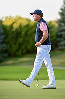 Phil Mickelson (USA) reacts to sinking his birdie putt on 18 to win the match during round 2 Four-Ball of the 2017 President's Cup, Liberty National Golf Club, Jersey City, New Jersey, USA. 9/29/2017.<br /> Picture: Golffile | Ken Murray<br /> <br /> All photo usage must carry mandatory copyright credit (&copy; Golffile | Ken Murray)