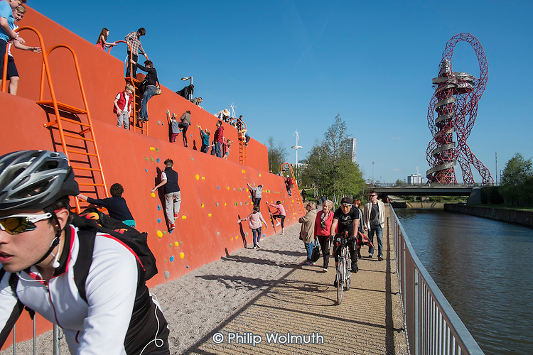 The Queen Elizabeth Olympic Park, Stratford, climbing wall, and ArcelorMittal Orbit sculpture designed by Anish Kapoor