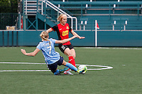Rochester, NY - Saturday May 21, 2016: Sky Blue FC midfielder Nikki Stanton (7) defends Western New York Flash midfielder Michaela Hahn (2). The Western New York Flash defeated Sky Blue FC 5-2 during a regular season National Women's Soccer League (NWSL) match at Sahlen's Stadium.