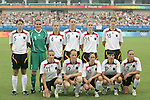 18 August 2008: Germany starting eleven.  Front row (l to r): Anja Mittag (GER), Melanie Behringer (GER), Renate Lingor (GER), Ariane Hingst (GER), Kerstin Stegemann (GER).  Back row (l to r): Annike Krahn (GER), Nadine Angerer (GER), Babett Peter (GER), Birgit Prinz (GER), Simone Laudehr (GER), Kerstin Garefrekes (GER).  The women's Olympic soccer team of Brazil defeated the women's Olympic soccer team of Germany 4-1 at Shanghai Stadium in Shanghai, China in a Semifinal match in the Women's Olympic Football competition.