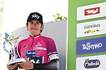 April 21st 2017, Trento, Italy; UCI Tour of the Alps mens cycling tour, stage 5 from Smarano to Trento. GBR's Geraint Thomas (Team Sky) wins the Tour and French Thibaut Pinot (FDJ) who ended first at this last stage ended second at the overall, Italy's Domenico Pozzovivo (AG2R La Mondiale) is third. Pictured: Geraint Thomas (Team Sky)