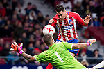 Atletico de Madrid Jose Maria Gimenez and Elche Guillermo Vallejo during return match of King's Cup between Atletico de Madrid and Elche CF at Wanda Metropolitano Stadium in Madrid, Spain. November 29, 2017. (ALTERPHOTOS/Borja B.Hojas)