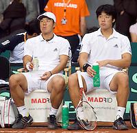 20-9-08, Netherlands, Apeldoorn, Tennis, Daviscup NL-Zuid Korea, Dubbles match: Disapointment on the Korean bench HyungTaik Lee and WongSun Jun(R)