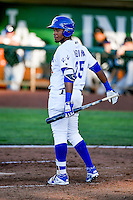 Michael Medina (25) of the Ogden Raptors at bat against the Grand Junction Rockies in Pioneer League action at Lindquist Field on June 20, 2016 in Ogden, Utah. The Rockies defeated the Raptors 5-2. (Stephen Smith/Four Seam Images)