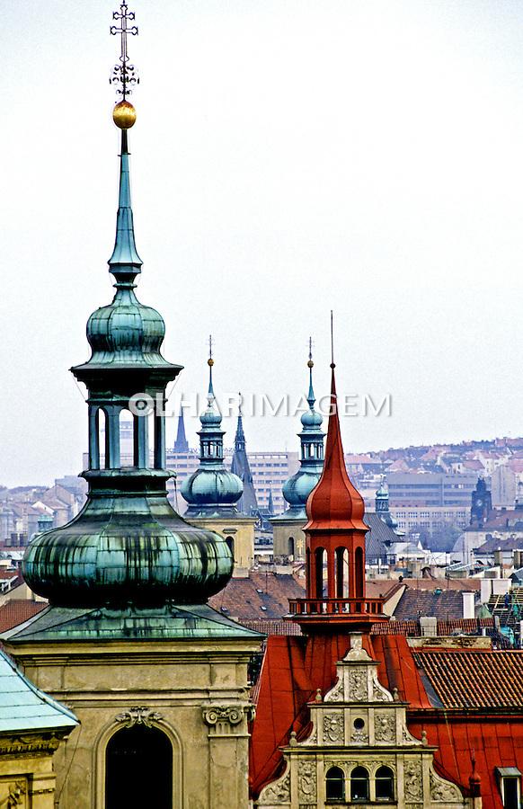 Torres da cidade de Praga, República Tcheca. 1995. Foto de João Caldas.