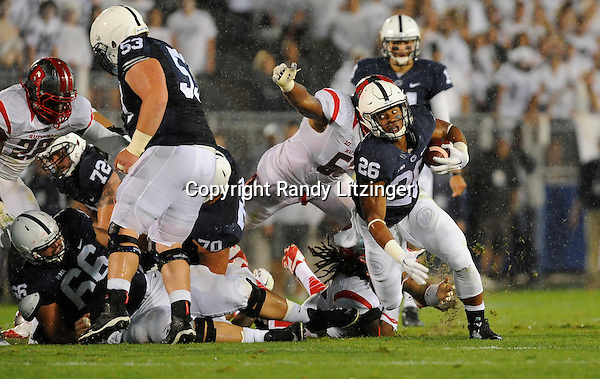 19 September 2015:  Penn State RB Saquon Barkley (26) carries for a gain. The Penn State Nittany Lions vs. the Rutgers Scarlett Knights at Beaver Stadium in State College, PA.