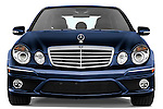 Straight front view of a blue 2008 Mercedes E63 Sedan