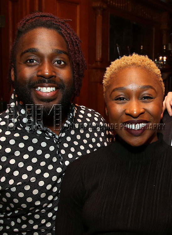 Mykal Kilgore and Cynthia Erivo during the Dramatists Guild Fund intimate salon with Benj Pasek and Justin Paul at the home of Kara Unterberg on March 7, 2016 in New York City.