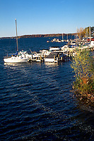 Boats moored by the shores of Lake Minnetonka.  Minnetonka Minnesota USA