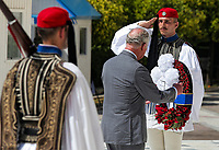 Pictured: Prince Charles at Syntagma Square lays a wreath at the Monument of the Unknown Soldier in Athens, Greece. Wednesday 09 May 2018 <br /> Re: Official visit of HRH Prnce Charles and his wife the Duchess of Cornwall to Athens, Greece.