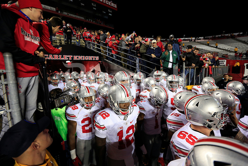 Ohio State Buckeyes take the field for final warmups at High Point Solutions Stadium for their game against Rutgers Scarlet Knights on October 24, 2015.  (Dispatch photo by Kyle Robertson)