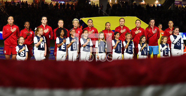 Orlando City, FL - Wednesday March 07, 2018: USWNT starting eleven vs England during a 2018 SheBelieves Cup match between the women's national teams of the United States (USA) and England (ENG) at Orlando City Stadium.