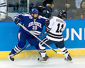 Tony Thomas (Air Force - 20), Charles Brockett (Yale - 11) - The Yale University Bulldogs defeated the Air Force Academy Falcons 2-1 (OT) in their East Regional Semi-Final matchup on Friday, March 25, 2011, at Webster Bank Arena at Harbor Yard in Bridgeport, Connecticut.
