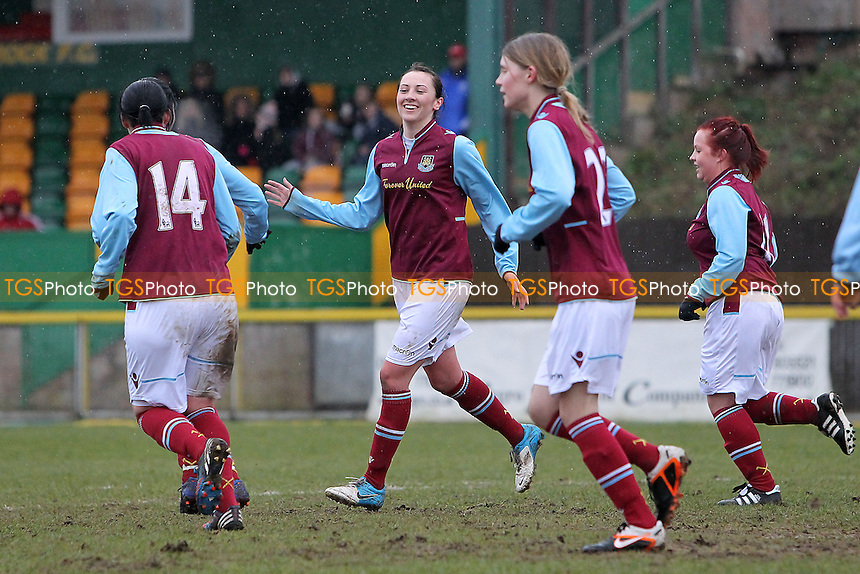 Kelley Blanchflower scores the tenth goal for West Ham and celebrates (C) - West Ham United Ladies vs Witham Town Ladies - Essex FA Womens Cup Quarter-Final Football at Ship Lane, Thurrock FC - 10/02/13 - MANDATORY CREDIT: Gavin Ellis/TGSPHOTO - Self billing applies where appropriate - 0845 094 6026 - contact@tgsphoto.co.uk - NO UNPAID USE.
