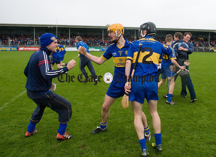 Newmarket players celebrate on the final whistle at the end of the senior county hurling final at Cusack Park. Photograph by John Kelly.