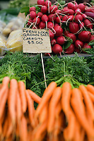 Fresh produce at the Salamanca Market.  The weekly market, held in Salamanca Place, draws locals and tourists with its food and craft stalls. Hobart, Tasmania, AUSTRALIA