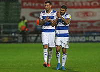 Grant Hall of Queens Park Rangers  and Nahki Wells of Queens Park Rangers  thank the fans after Queens Park Rangers vs Middlesbrough, Sky Bet EFL Championship Football at Loftus Road Stadium on 9th November 2019
